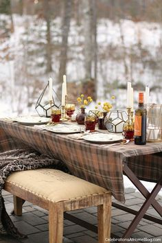 Outdoor autumn or winter table setting, for holidays or family get together.