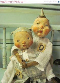 Black Friday Primitive Vintage Inspired Doll Set Olivia and Joey
