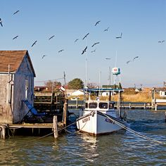 Tangier Island, Virginia.  The only way to get there is by boat.  you can not bring your car.