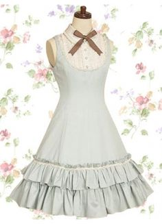 Almost like a bow tie!!!   Classic Cotton Scalloped-Edge Turndown Collar Empire Tea-length Lolita Dress With Ruffles