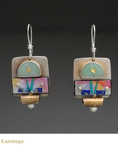 Jewelry by Lauren Pollaro ss,paper,epoxy resin,gold leaf,pearl
