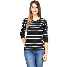957e584bc4bda Black and White Color Stripped T-Shirts For Women Designer Raound Neck  Stripes Pattern Top For Girls
