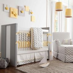 Szaro-żółty pokój dziecięcy
