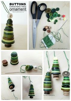 These button Christmas Tree ornaments are adorable and easy to make. They would look lovely on the tree