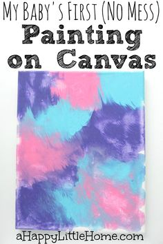 This no mess painting method could work for babies or toddlers to create a colorful, marbled piece of artwork to display. It would make such a cute grandparent gift, too. I love this idea - it reminds me a little of other mess-free painting methods I've seen, but this one creates a canvas painting to display. I want to try this!!