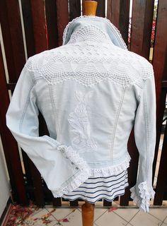 Bright blue denim jacket, upcycled festival clothing crochet doily applique floral embroidered women size M, Shabby Chic, Gypsy, Victorian by SwiezaKoszula on Etsy