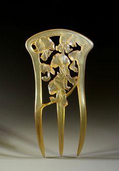 Peigne Art Nouveau aux glycines