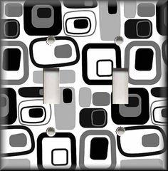 Light Switch Plate Cover - Retro Mod Squares - Black And White - Home Decor
