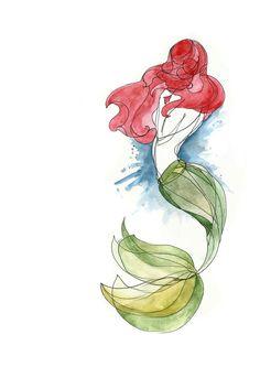 Little Mermaid Art Print by on I love disney art! Disney Kunst, Disney Art, Disney Pixar, Ariel Disney, Mermaid Tattoo Designs, Mermaid Tattoos, Watercolor Mermaid Tattoo, Watercolor Art, Watercolor Tattoos