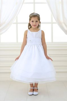 White/White+Organza+Simple+Layered+Flower+Girl+Dress+with+Sash+CA-D574-WH+on+www.GirlsDressLine.Com
