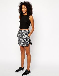 Influence Printed A Line Skirt
