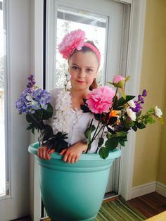 Flower Pot Costume- we made this for my 10 year old's school costume parade. It was a big hit. -Super easy costume to make & it brought smiles to a lot of faces!