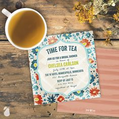 Tea Time bridal shower invitations for a tea party.