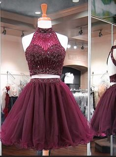 Burgundy Two Piece Homecoming Dress, Beading Stylish Short Tulle Prom Party Gowns from prom dress Backless Homecoming Dresses, Two Piece Homecoming Dress, Cute Prom Dresses, Grad Dresses, Dance Dresses, Pretty Dresses, Sexy Dresses, Beautiful Dresses, Evening Dresses