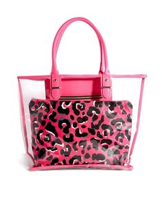 dea648ba7e New Look Clear Beach Bag with Leopard Print Removable Pouch Clear Beach Bag