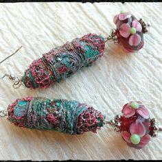 Earrings; narrative tyvek art beads, lampwork glass beads