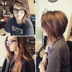 Layered asymmetrical bob with side bangs. Love this cut!