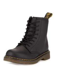 Delaney Matte Leather Military Boot, Black, Youth by Dr. Martens at Neiman Marcus.