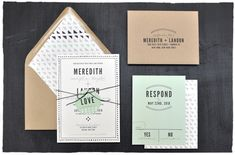 Hudson Wedding Invitation Suite | modern casual and elegance wedding invite with mint and white color | by Smitten On Paper