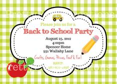 BACK to SCHOOL party invitation  YOU Pint by PrettyPartyCreations, $11.00