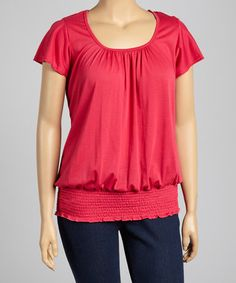 Look at this #zulilyfind! Fuchsia Shirred Top - Plus by Yummy #zulilyfinds