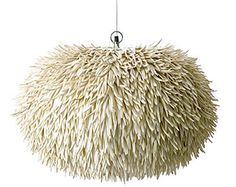 Drawing inspiration from below the ocean, this organically shaped hanging lamp looks like a large sea anemone. It is made from coco sticks, which are stick Ceiling Lamp, Ceiling Lights, Weylandts, Kitchen Lighting Fixtures, Lampshades, Pendant Lamp, Decoration, Lighting Design, House Lighting