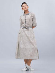 Off White Black Striped Hand Block Printed Cotton Dress