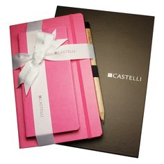 Tucson Gift Set: An elegantly designed and presented Tucson gift set featuring a matching pocket diary and medium Ivory notebook in a two part presentation box with white Castelli printed gift ribbon and enrobed in luxury tissue paper for the ultimate gift.  Call 1-800-567-9089 or email marketing@craftwell.com for quote!
