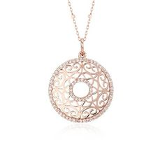 This vintage-inspired #necklace features round brilliant #diamonds framed in 14k rose gold and complimented with a fancy cable chain #necklace.