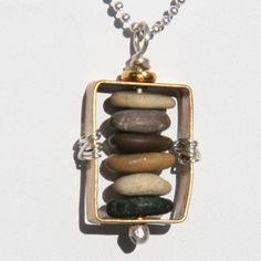 Framed Stacked Beachglass Pendant  One 1 by SmoothStoneStudios, $54.00