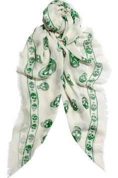 Green and white Alexander McQueen | Skull-print modal and cashmere-blend scarf | NET-A-PORTER.COM