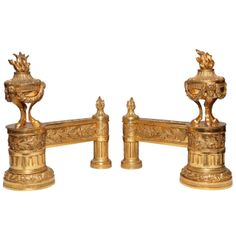 Pair of Antique French Louis XVI Style Dore Bronze Fireplace Chenets | From a unique collection of antique and modern andirons at http://www.1stdibs.com/furniture/building-garden/andirons/