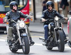 David Coulthard and fellow Formula One star Jenson Button take their Harley Davidsons for a spin in London