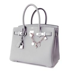 Hermes Gris Mouette New Grey 30cm Togo Birkin Bag Palladium Perle So Chic 2