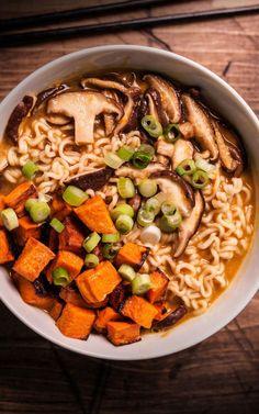 8. Vegetarian Miso Ramen With Roasted Sweet Potatoes  #healthy #ramen #recipes http://greatist.com/eat/healthier-ramen-recipes