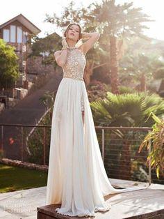 A-Line/Princess Halter Sleeveless Lace Chiffon Sweep/Brush Train Dresses JollyProm