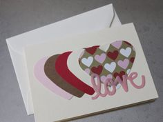 Love Hearts Valentine Card by LYHHandmadeGifts on Etsy Love Your Home, My Love, Valentines, Valentine Cards, Love Heart, I Shop, Hearts, Day, Unique Jewelry