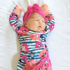 A perfect outfit for a newborn baby girl as she makes her debut into the world! Whether this gown is used for bringing home baby or a coming home outfit, newborn pictures, or everyday wear, it's a practical piece that makes a bold statement. Such a darlin http://newborn-baby-care.us