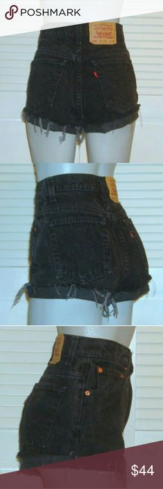 "Vintage Levis 550 Black High Waist Cut Off Shorts This pair of Vintage Levi's shorts are 26 1/2"" around the waist, 34"" around the hips and have a 10 1/2"" rise. Levi's Shorts Jean Shorts"