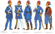 Turkish uniforms, Crimea, 1855.