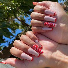 Bling Acrylic Nails, Simple Acrylic Nails, Best Acrylic Nails, Summer Acrylic Nails, Coffin Nails, Summer Nails, Dragon Nails, Acylic Nails, Cute Acrylic Nail Designs