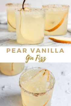 A refreshing Pear Vanilla Gin Fizz with homemade pear vanilla syrup, gin, and soda water. This cocktail recipe with gin is a pear filled twist on a classic! Gin Fizz Cocktail, Cocktail Syrups, Gin Cocktail Recipes, Cocktail Desserts, Fall Cocktails, Vodka Cocktails, Signature Cocktail, Cocktail Ideas, Cocktails