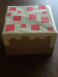 Old box covered with kraft, wrapping papers and cardstock. Minecraft Birthday Party, Minecraft Cake, Birthday Parties, Wrapping Papers, Gift Wrapping, Old Boxes, Covered Boxes, Kraft Paper, Card Stock