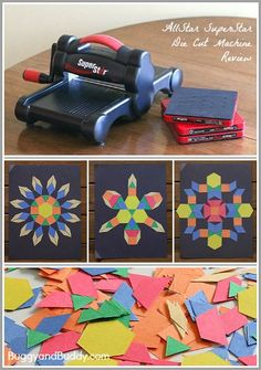 Math and Art for Kids using paper pattern block shapes- make symmetrical… Preschool Math, Fun Math, Preschool Shapes, Montessori Math, Math Art, Early Learning, Fun Learning, Learning Activities, Creative Activities For Kids