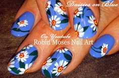 42 Daisy Nail Art Designs in my New Daisies Playlist up on. Diy Daisy Nails, Daisy Nail Art, Flower Nail Art, Spring Nail Art, Spring Nails, Summer Nails, Robin Moses, Nailart, Nail Art Designs