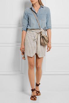 Madewell | Portside striped linen and cotton-blend mini skirt | NET-A-PORTER.COM