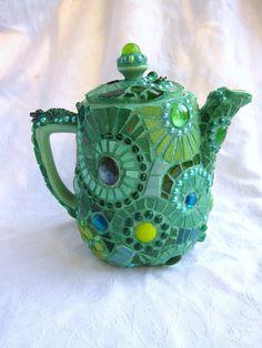 Green mosaic teapot