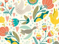 Bird Holiday Pattern