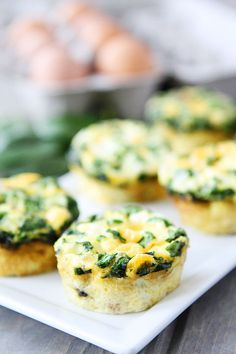 Egg Muffins with Sausage, Spinach, and Cheese from @Maria (Two Peas and Their Pod)