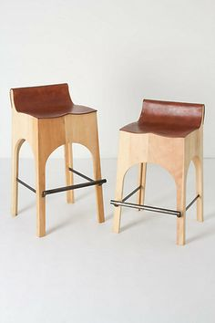 Morris Bar Stool. Wood, leather, iron.